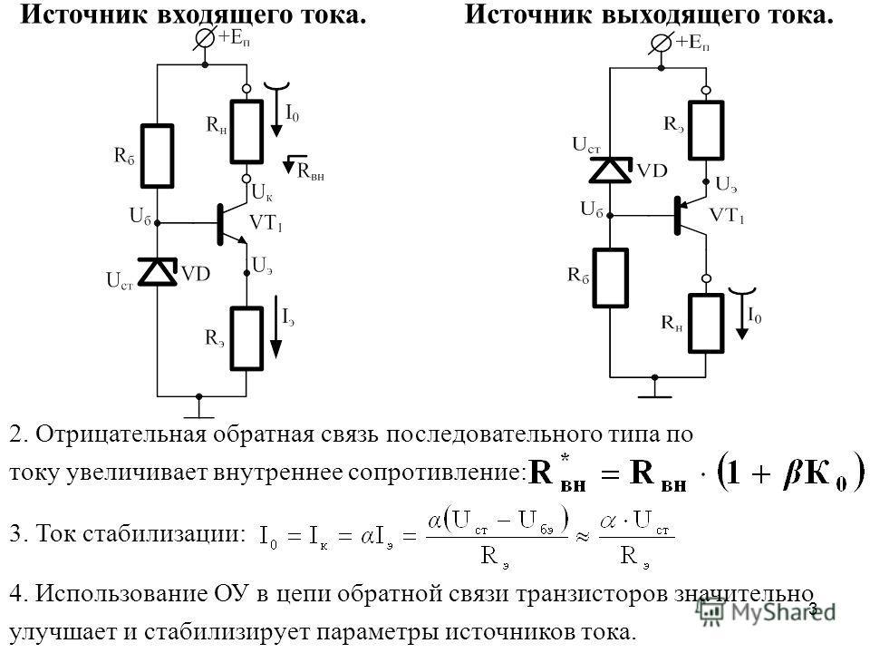 3 Источник выходящего тока.Источник входящего тока. 2. Отрицательная обратная связь последовательного типа по току увеличивает внутреннее сопротивление: 3. Ток стабилизации: 4. Использование ОУ в цепи обратной связи транзисторов значительно улучшает