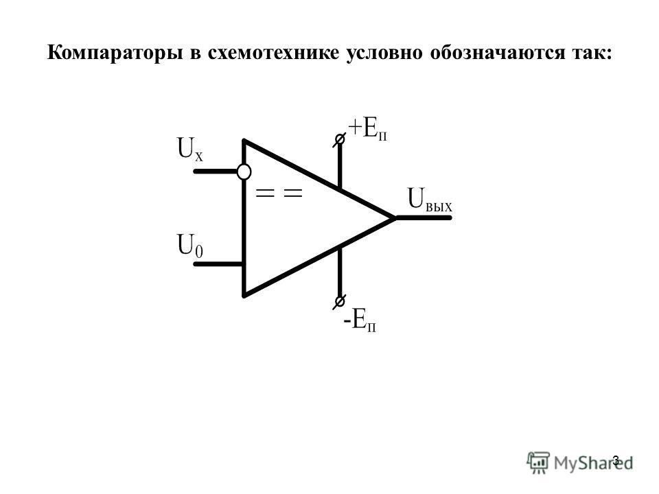 3 Компараторы в схемотехнике условно обозначаются так:
