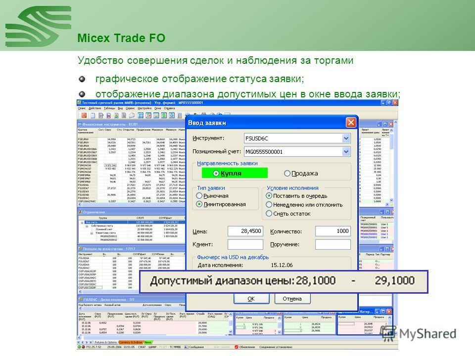 Micex Trade FO Удобство совершения сделок и наблюдения за торгами отображение диапазона допустимых цен в окне ввода заявки; графическое отображение статуса заявки;