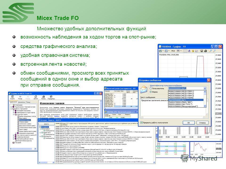 Micex Trade FO возможность наблюдения за ходом торгов на спот-рынке; Множество удобных дополнительных функций средства графического анализа; удобная справочная система; встроенная лента новостей; обмен сообщениями, просмотр всех принятых сообщений в