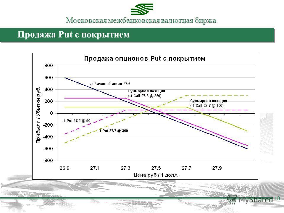 Московская межбанковская валютная биржа 18 Продажа Put с покрытием
