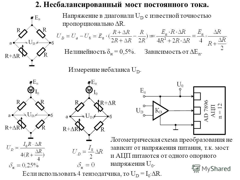 2. Несбалансированный мост постоянного тока. Напряжение в диагонали U D с известной точностью пропорционально ΔR. Нелинейность δ н = 0,5%.Зависимость от ΔЕ п. Измерение небаланса U D. Логометрическая схема преобразования не зависит от напряжения пита