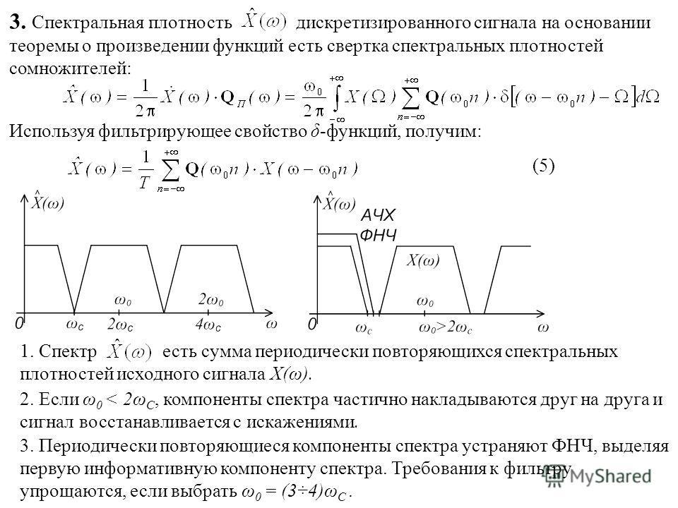3. Спектральная плотность дискретизированного сигнала на основании теоремы о произведении функций есть свертка спектральных плотностей сомножителей: Используя фильтрирующее свойство δ-функций, получим: (5)(5) 1. Спектр есть сумма периодически повторя