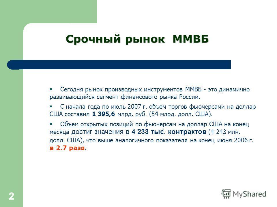 2 Сегодня рынок производных инструментов ММВБ - это динамично развивающийся сегмент финансового рынка России. С начала года по июль 2007 г. объем торгов фьючерсами на доллар США составил 1 395,6 млрд. руб. (54 млрд. долл. США). Объем открытых позиций