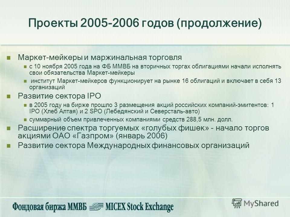 Маркет-мейкеры и маржинальная торговля с 10 ноября 2005 года на ФБ ММВБ на вторичных торгах облигациями начали исполнять свои обязательства Маркет-мейкеры институт Маркет-мейкеров функционирует на рынке 16 облигаций и включает в себя 13 организаций Р