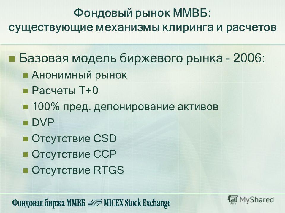 Фондовый рынок ММВБ: существующие механизмы клиринга и расчетов Базовая модель биржевого рынка - 2006: Анонимный рынок Расчеты Т+0 100% пред. депонирование активов DVP Отсутствие CSD Отсутствие ССР Отсутствие RTGS