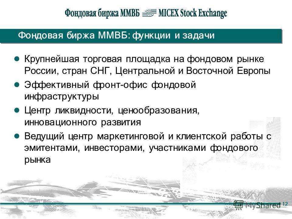 12 Фондовая биржа ММВБ: функции и задачи Крупнейшая торговая площадка на фондовом рынке России, стран СНГ, Центральной и Восточной Европы Эффективный фронт-офис фондовой инфраструктуры Центр ликвидности, ценообразования, инновационного развития Ведущ