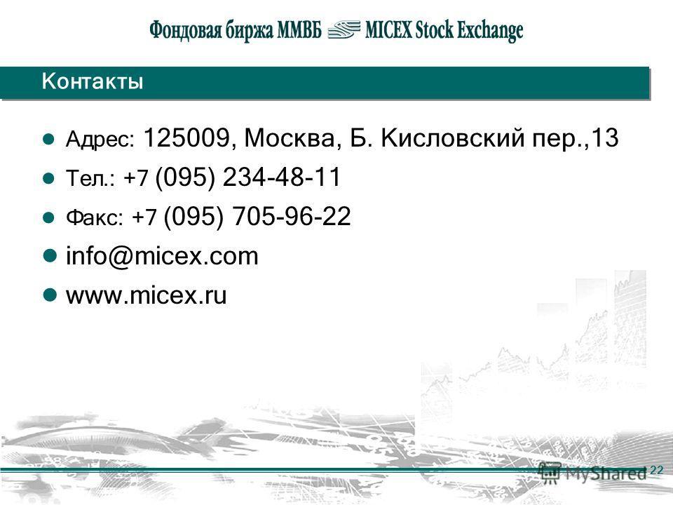 22 Контакты Адрес: 125009, Москва, Б. Кисловский пер.,13 Тел.: +7 (095) 234-48-11 Факс: +7 (095) 705-96-22 info@micex.com www.micex.ru