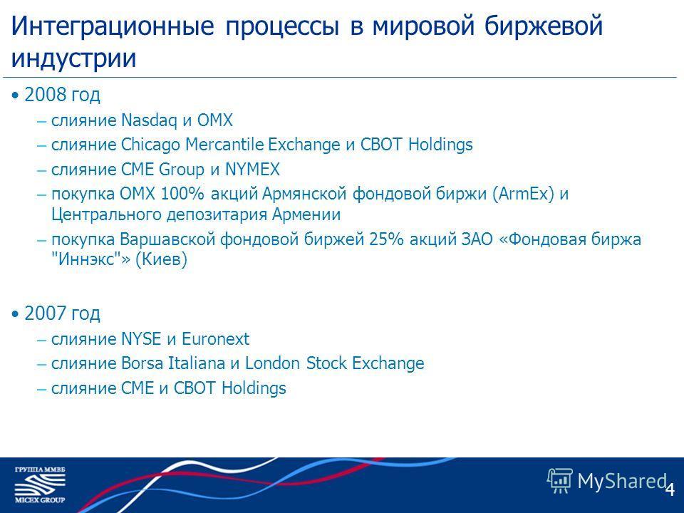 4 Интеграционные процессы в мировой биржевой индустрии 2008 год – слияние Nasdaq и OMX – слияние Chicago Mercantile Exchange и CBOT Holdings – слияние CME Group и NYMEX – покупка OMX 100% акций Армянской фондовой биржи (ArmEx) и Центрального депозита