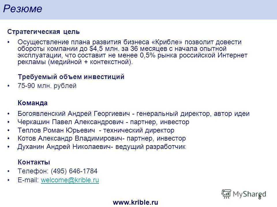 www.krible.ru 8 Резюме Стратегическая цель Осуществление плана развития бизнеса «Крибле» позволит довести обороты компании до $4,5 млн. за 36 месяцев с начала опытной эксплуатации, что составит не менее 0,5% рынка российской Интернет рекламы (медийно