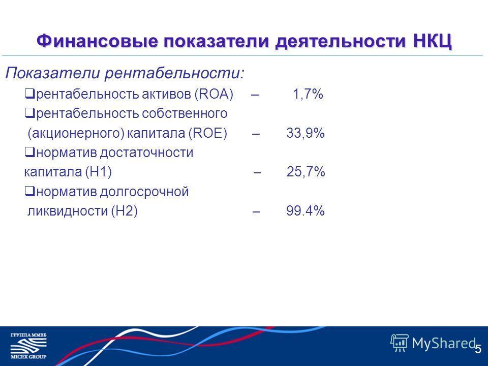 5 Финансовые показатели деятельности НКЦ Показатели рентабельности: рентабельность активов (ROA) – 1,7% рентабельность собственного (акционерного) капитала (ROE) – 33,9% норматив достаточности капитала (Н1) – 25,7% норматив долгосрочной ликвидности (
