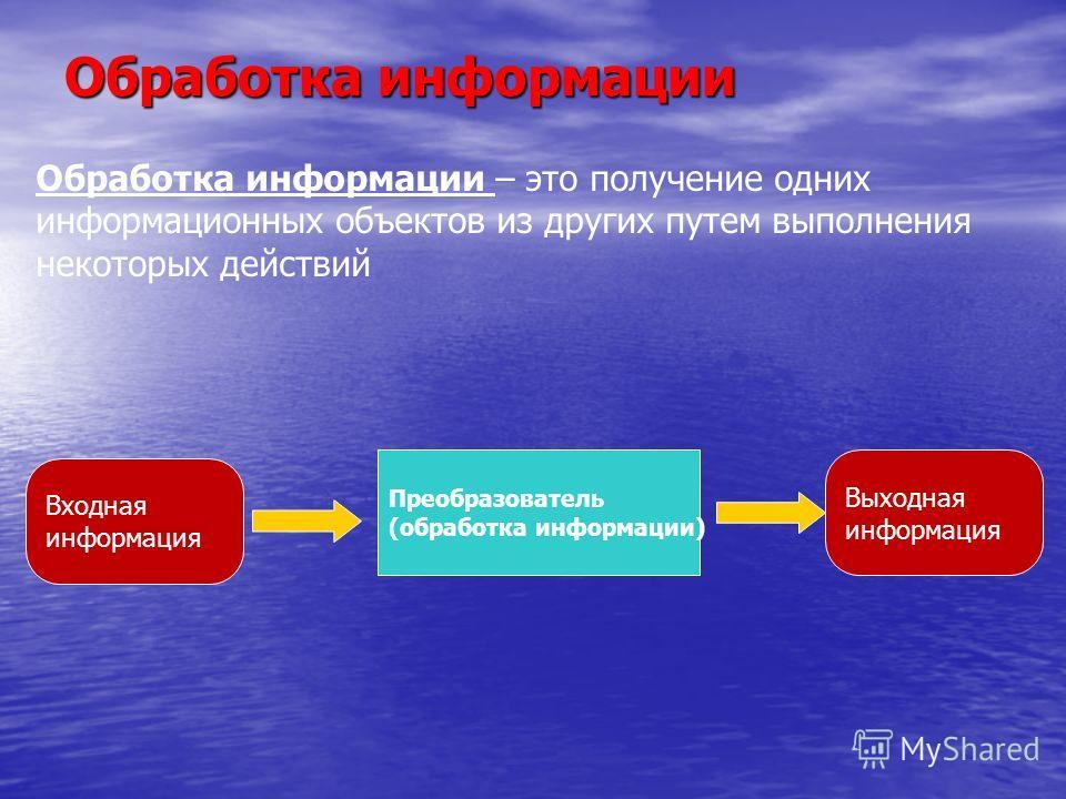 Обработка информации Обработка информации – это получение одних информационных объектов из других путем выполнения некоторых действий Выходная информация Преобразователь (обработка информации) Входная информация