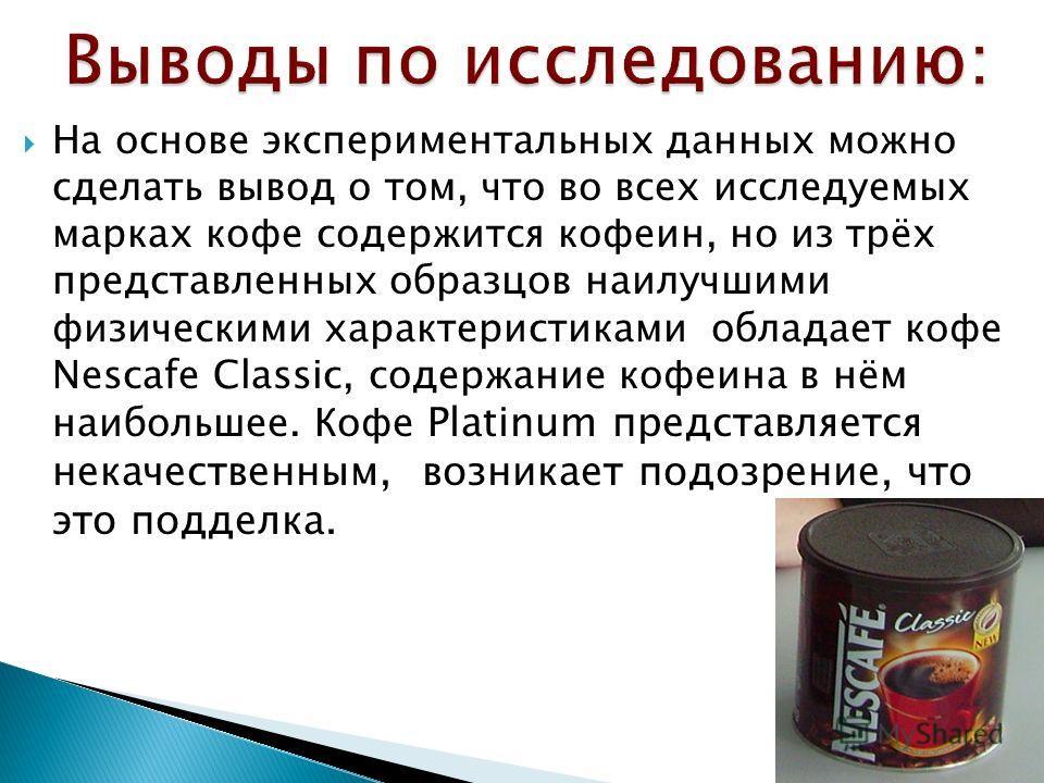 На основе экспериментальных данных можно сделать вывод о том, что во всех исследуемых марках кофе содержится кофеин, но из трёх представленных образцов наилучшими физическими характеристиками обладает кофе Nescafe Classic, содержание кофеина в нём на