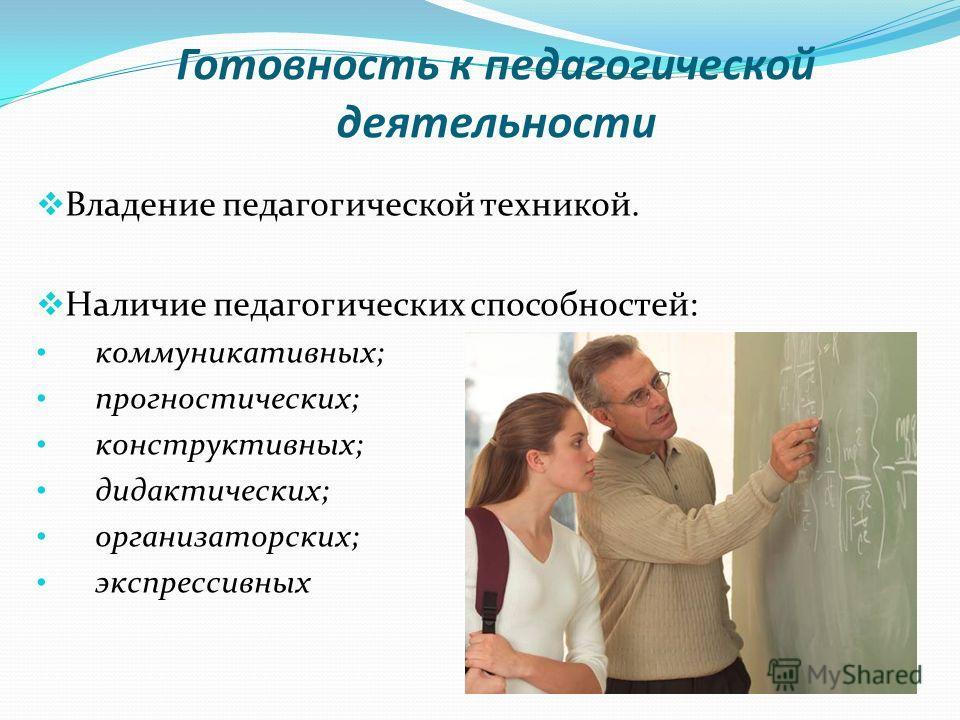 Готовность к педагогической деятельности Владение педагогической техникой. Наличие педагогических способностей: коммуникативных; прогностических; конструктивных; дидактических; организаторских; экспрессивных