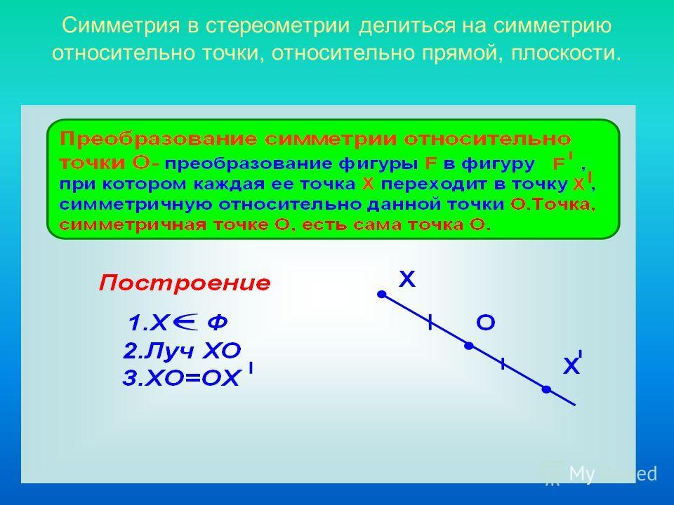 Симметрия в стереометрии делиться на симметрию относительно точки, относительно прямой, плоскости.