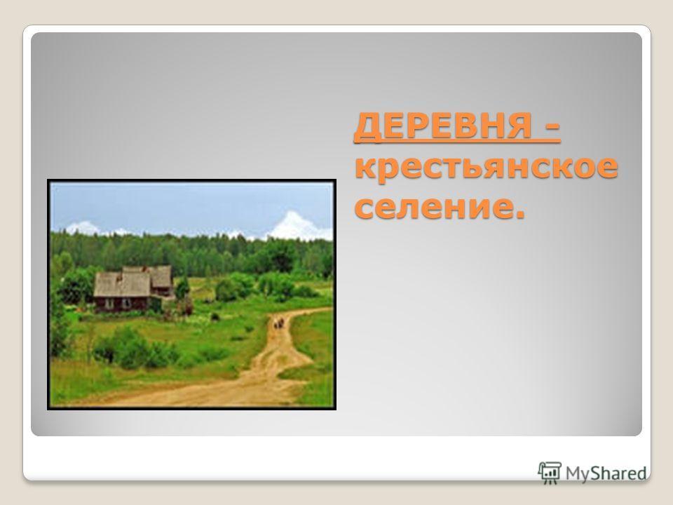 ДЕРЕВНЯ - крестьянское селение.