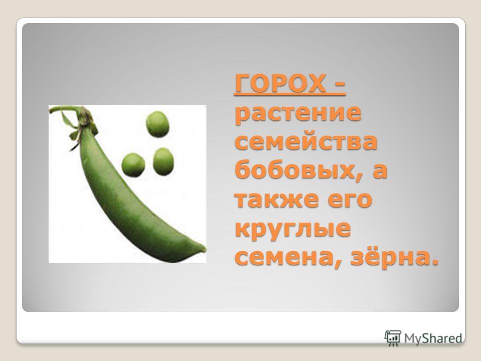 ГОРОХ - растение семейства бобовых, а также его круглые семена, зёрна.
