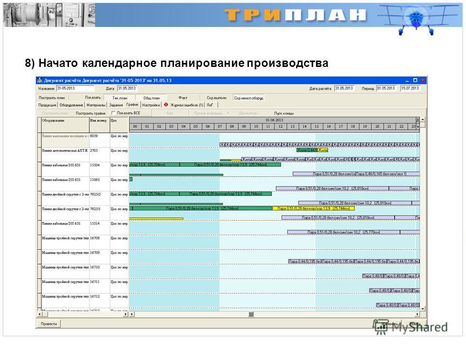 8) Начато календарное планирование производства