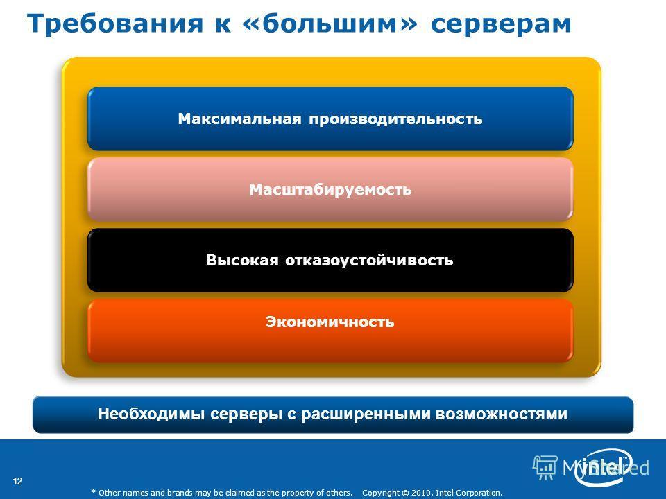 12 * Other names and brands may be claimed as the property of others. Copyright © 2010, Intel Corporation. Требования к «большим» серверам Необходимы серверы с расширенными возможностями Максимальная производительность Экономичность Высокая отказоуст
