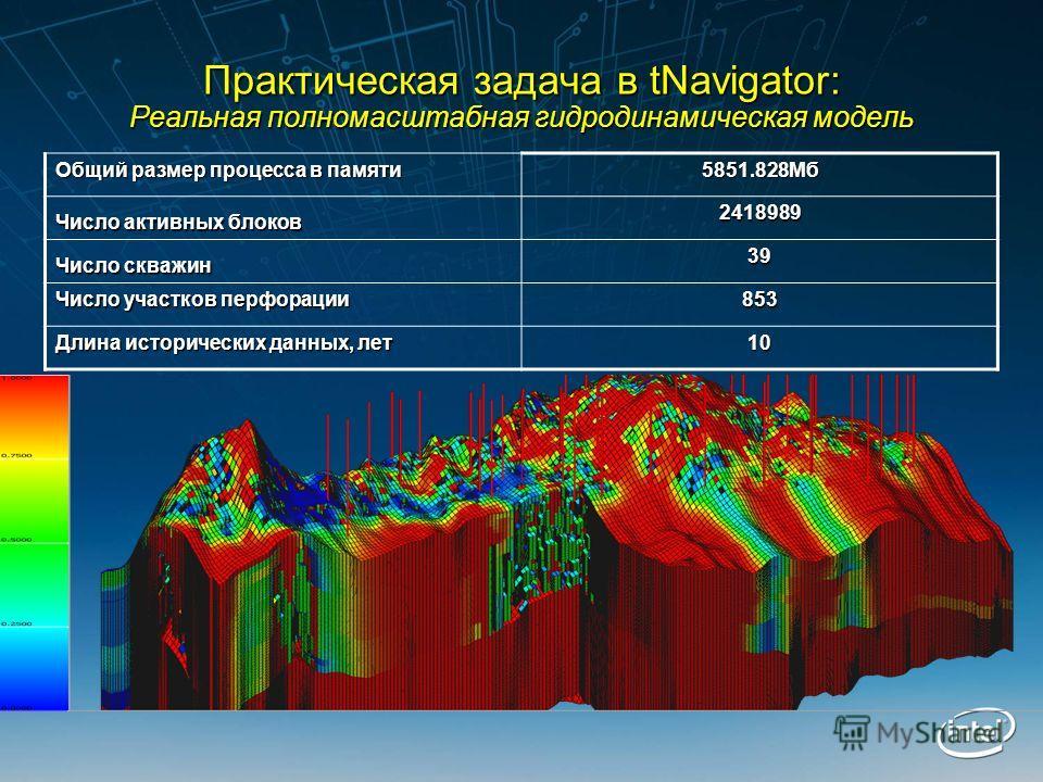 Практическая задача в tNavigator: Реальная полномасштабная гидродинамическая модель Общий размер процесса в памяти 5851.828Мб Число активных блоков 2418989 Число скважин 39 Число участков перфорации 853 Длина исторических данных, лет 10