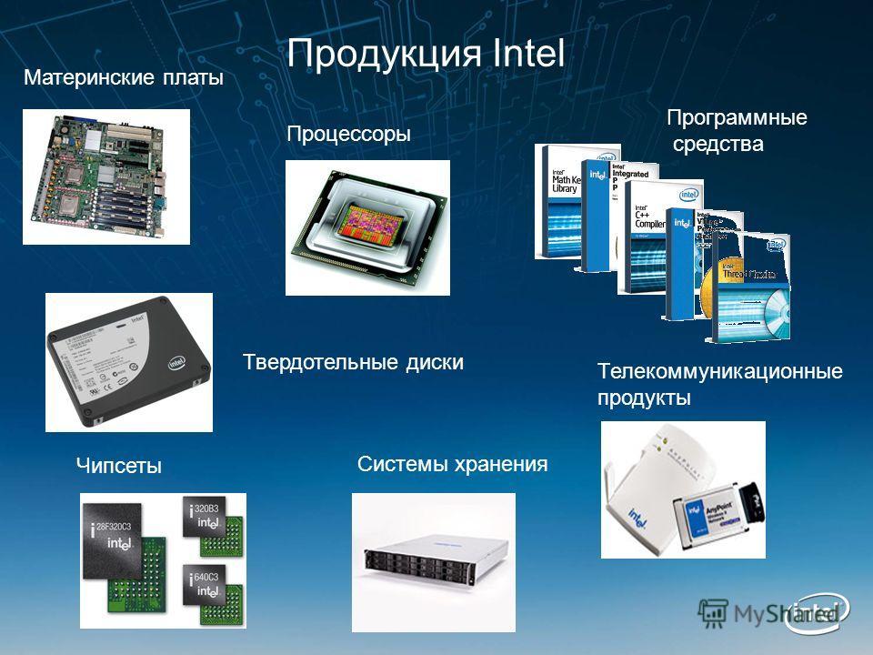 Продукция Intel Процессоры Материнские платы Чипсеты Системы хранения Программные средства Телекоммуникационные продукты Твердотельные диски