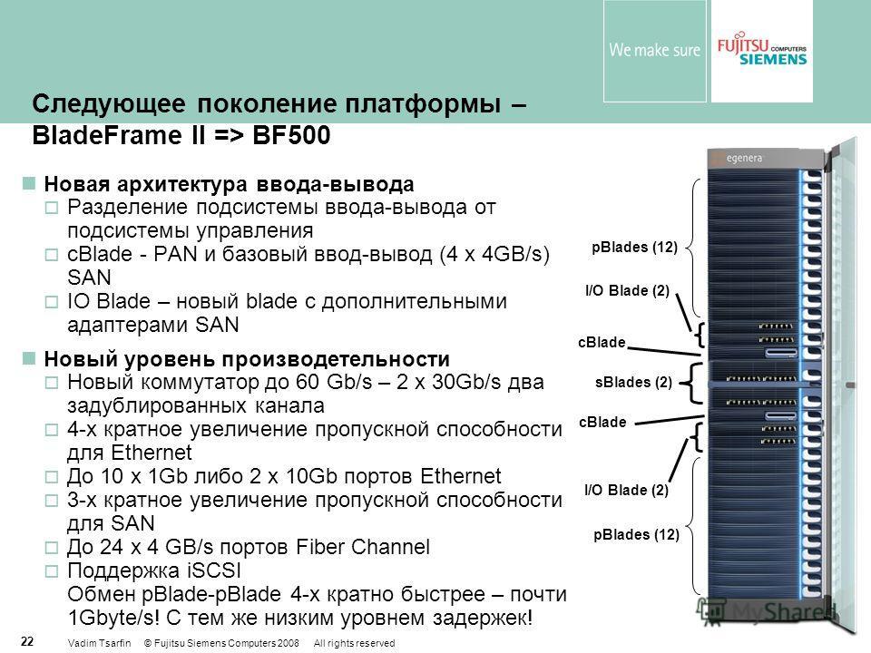 Vadim Tsarfin © Fujitsu Siemens Computers 2008 All rights reserved 22 Следующее поколение платформы – BladeFrame II => BF500 Новая архитектура ввода-вывода Разделение подсистемы ввода-вывода от подсистемы управления cBlade - PAN и базовый ввод-вывод