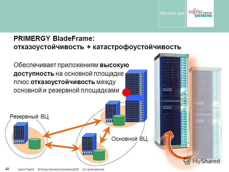 Vadim Tsarfin © Fujitsu Siemens Computers 2008 All rights reserved 42 PRIMERGY BladeFrame: отказоустойчивость + катастрофоустойчивость Обеспечивает приложениям высокую доступность на основной площадке плюс отказоустойчивость между основной и резервно