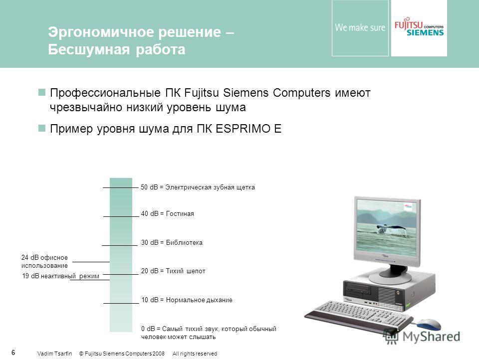 Vadim Tsarfin © Fujitsu Siemens Computers 2008 All rights reserved 6 Эргономичное решение – Бесшумная работа Профессиональные ПК Fujitsu Siemens Computers имеют чрезвычайно низкий уровень шума Пример уровня шума для ПК ESPRIMO E 40 dB = Гостиная 30 d