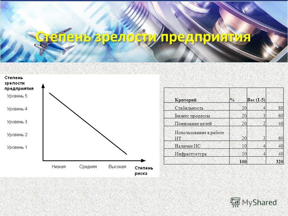 Критерий%Вес (1-5) Стабильность20480 Бизнес процессы20360 Понимание целей20240 Использование в работе ИТ20360 Наличие ИС10440 Инфрастуктура10440 100 320