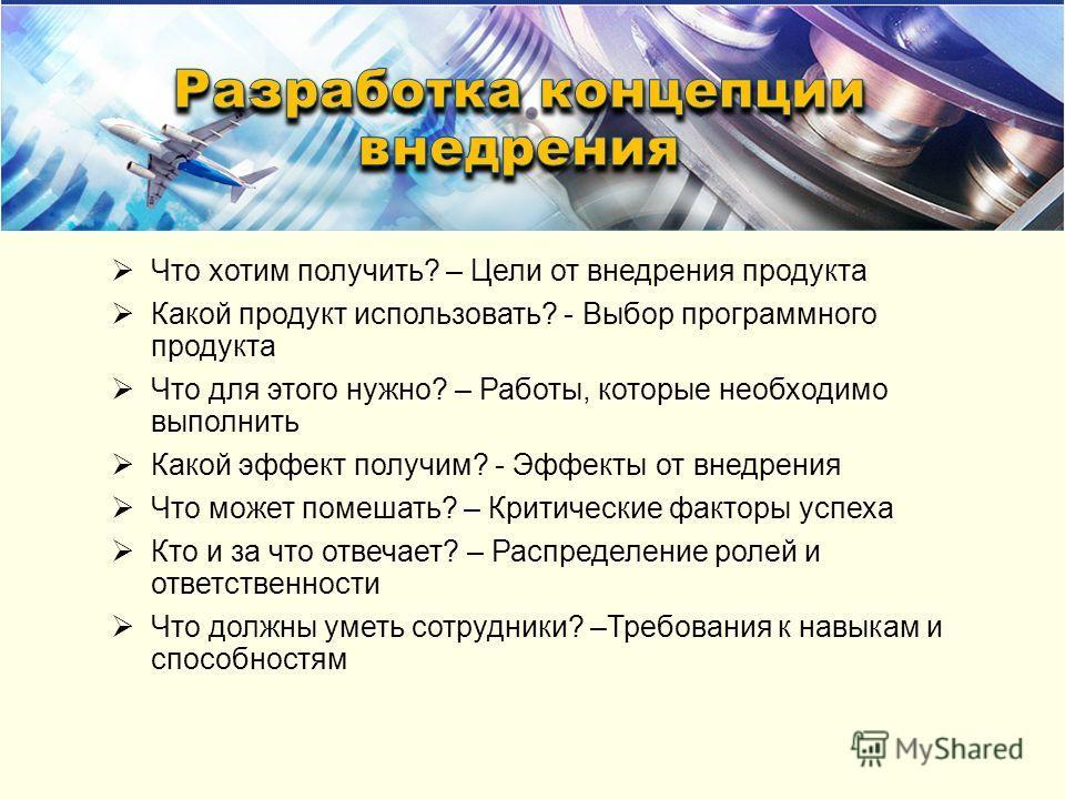 Что хотим получить? – Цели от внедрения продукта Какой продукт использовать? - Выбор программного продукта Что для этого нужно? – Работы, которые необходимо выполнить Какой эффект получим? - Эффекты от внедрения Что может помешать? – Критические факт