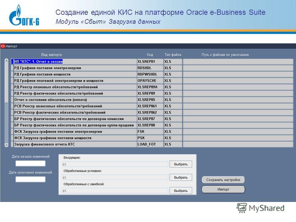Создание единой КИС на платформе Oracle e-Business Suite Модуль «Сбыт» Загрузка данных