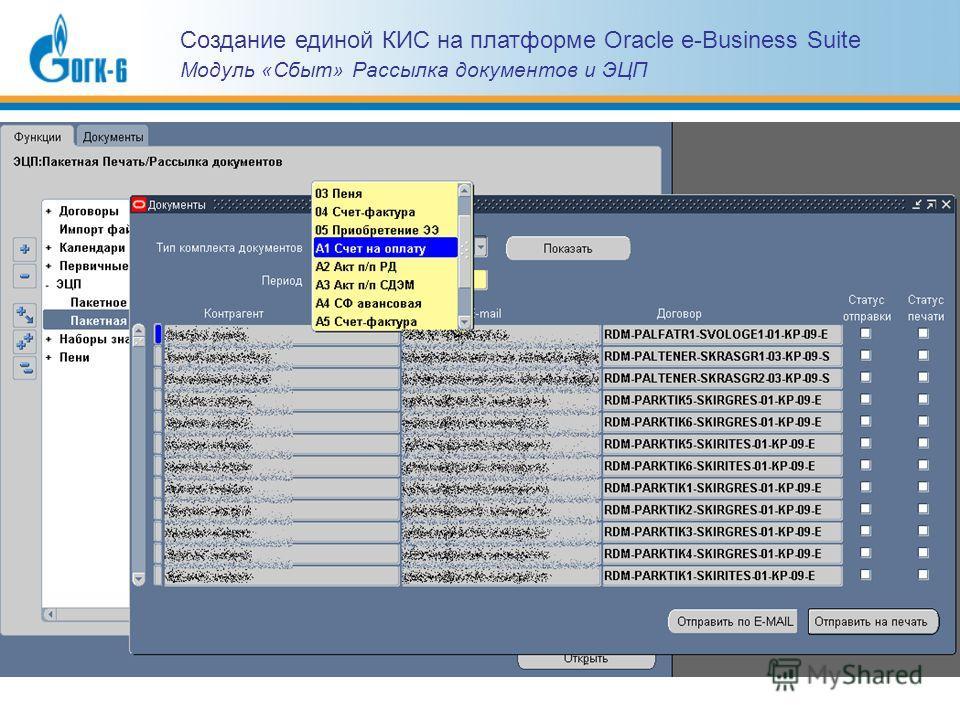 Создание единой КИС на платформе Oracle e-Business Suite Модуль «Сбыт» Рассылка документов и ЭЦП