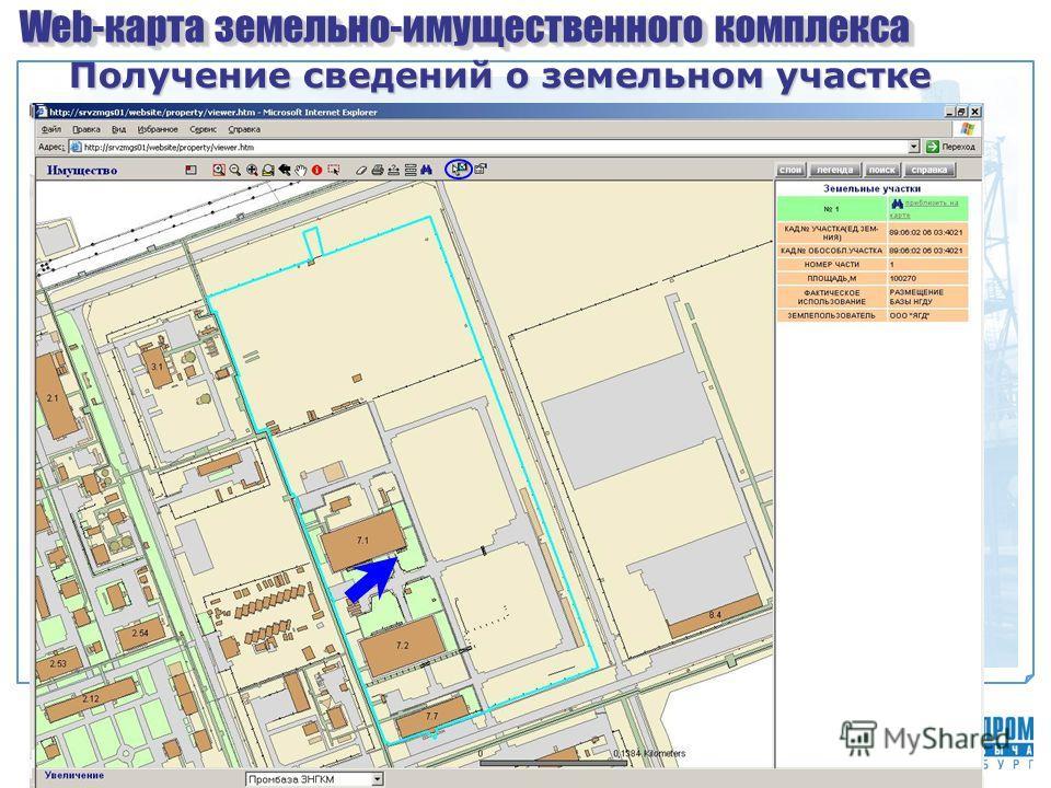 Web-карта земельно-имущественного комплекса Получение сведений о земельном участке