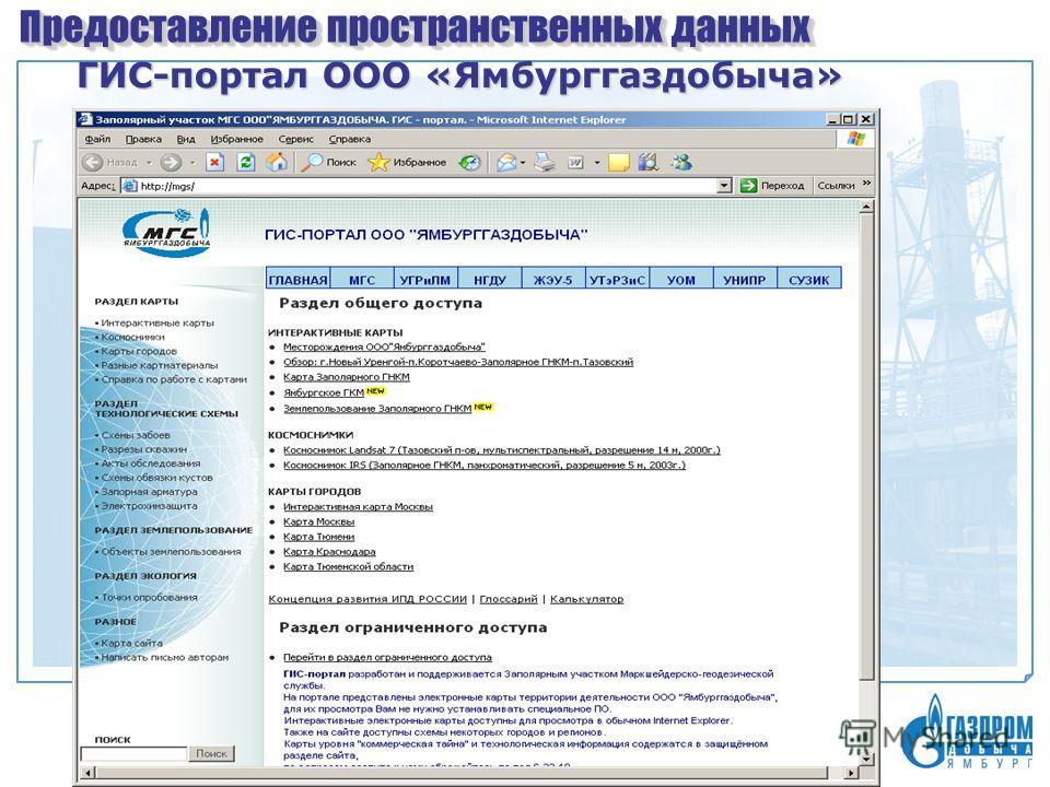 Предоставление пространственных данных ГИС-портал ООО «Ямбурггаздобыча»