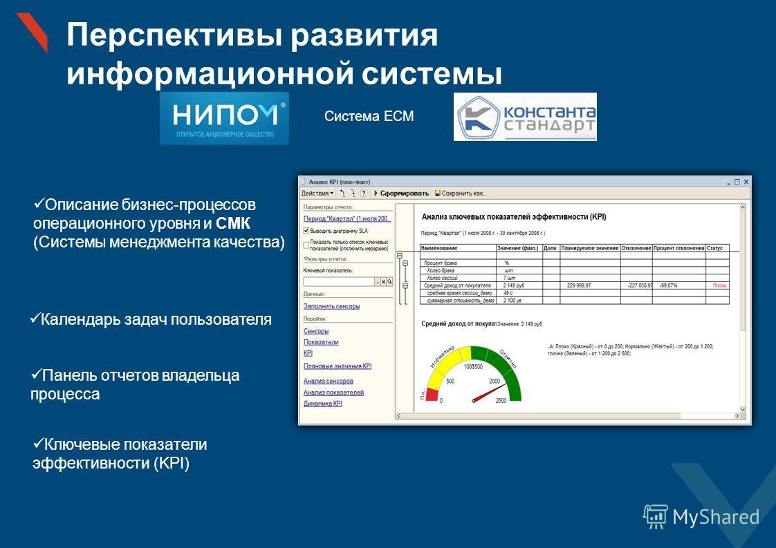 Перспективы развития информационной системы Описание бизнес-процессов операционного уровня и СМК (Системы менеджмента качества) Система ЕСМ Календарь задач пользователя Панель отчетов владельца процесса Ключевые показатели эффективности (KPI)