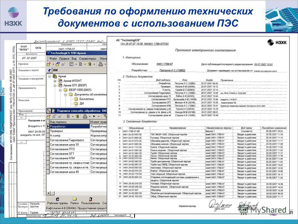 Требования по оформлению технических документов с использованием ПЭС