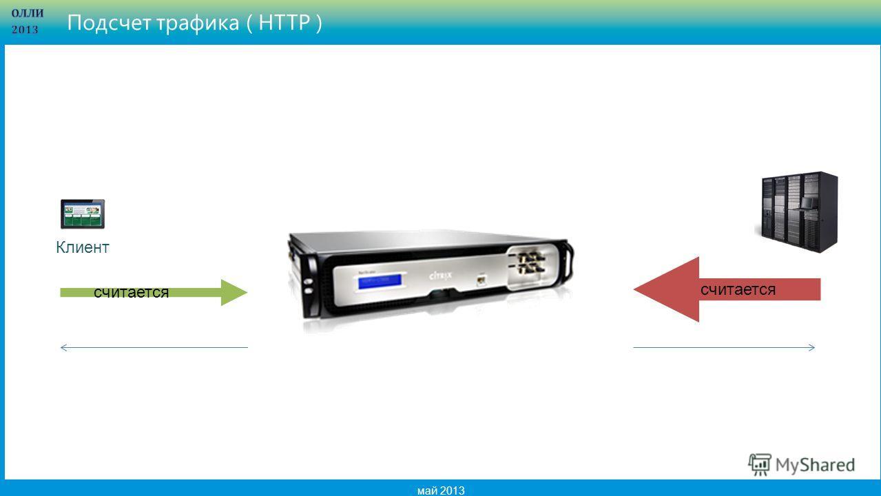 18 май 2013 Подсчет трафика ( HTTP ) Клиент считается