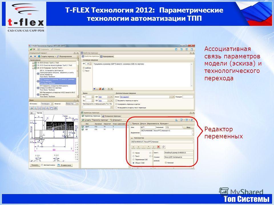 Ассоциативная связь параметров модели (эскиза) и технологического перехода Редактор переменных T-FLEX Технология 2012: Параметрические технологии автоматизации ТПП
