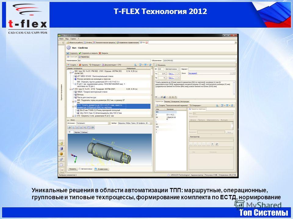 T-FLEX Технология 2012 Уникальные решения в области автоматизации ТПП: маршрутные, операционные, групповые и типовые техпроцессы, формирование комплекта по ЕСТД, нормирование