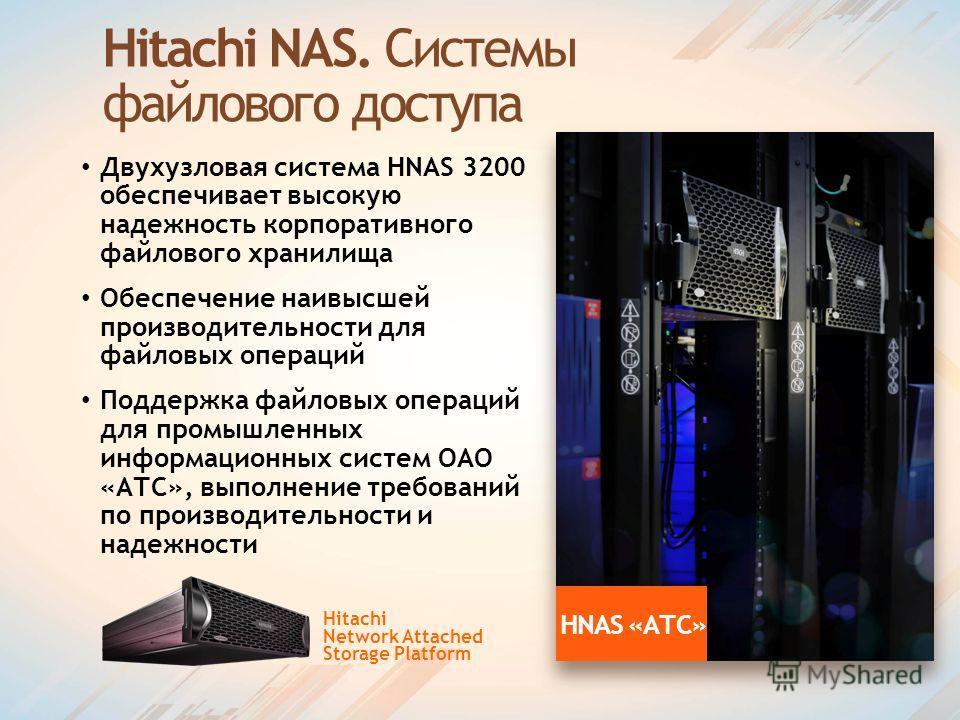 Hitachi NAS. Системы файлового доступа Двухузловая система HNAS 3200 обеспечивает высокую надежность корпоративного файлового хранилища Обеспечение наивысшей производительности для файловых операций Поддержка файловых операций для промышленных информ