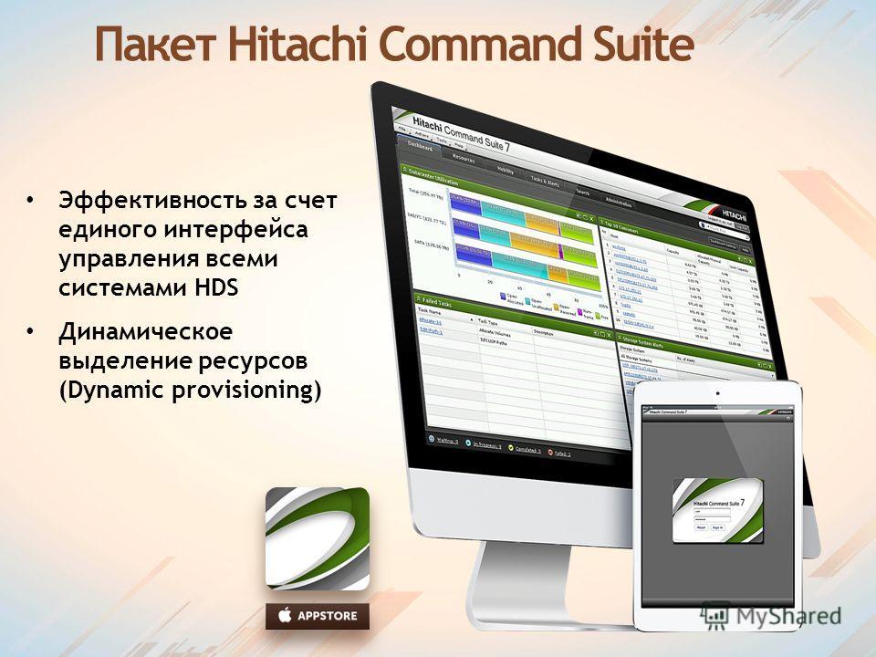 Пакет Hitachi Command Suite Эффективность за счет единого интерфейса управления всеми системами HDS Динамическое выделение ресурсов (Dynamic provisioning)