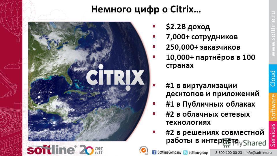 Немного цифр о Citrix… $2.2B доход 7,000+ сотрудников 250,000+ заказчиков 10,000+ партнёров в 100 странах #1 в виртуализации десктопов и приложений #1 в Публичных облаках #2 в облачных сетевых технологиях #2 в решениях совместной работы в интернете