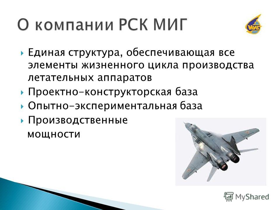 Единая структура, обеспечивающая все элементы жизненного цикла производства летательных аппаратов Проектно-конструкторская база Опытно-экспериментальная база Производственные мощности