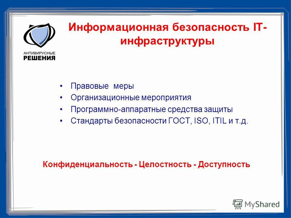 Информационная безопасность IT- инфраструктуры Правовые меры Организационные мероприятия Программно-аппаратные средства защиты Стандарты безопасности ГОСТ, ISO, ITIL и т.д. Конфиденциальность - Целостность - Доступность