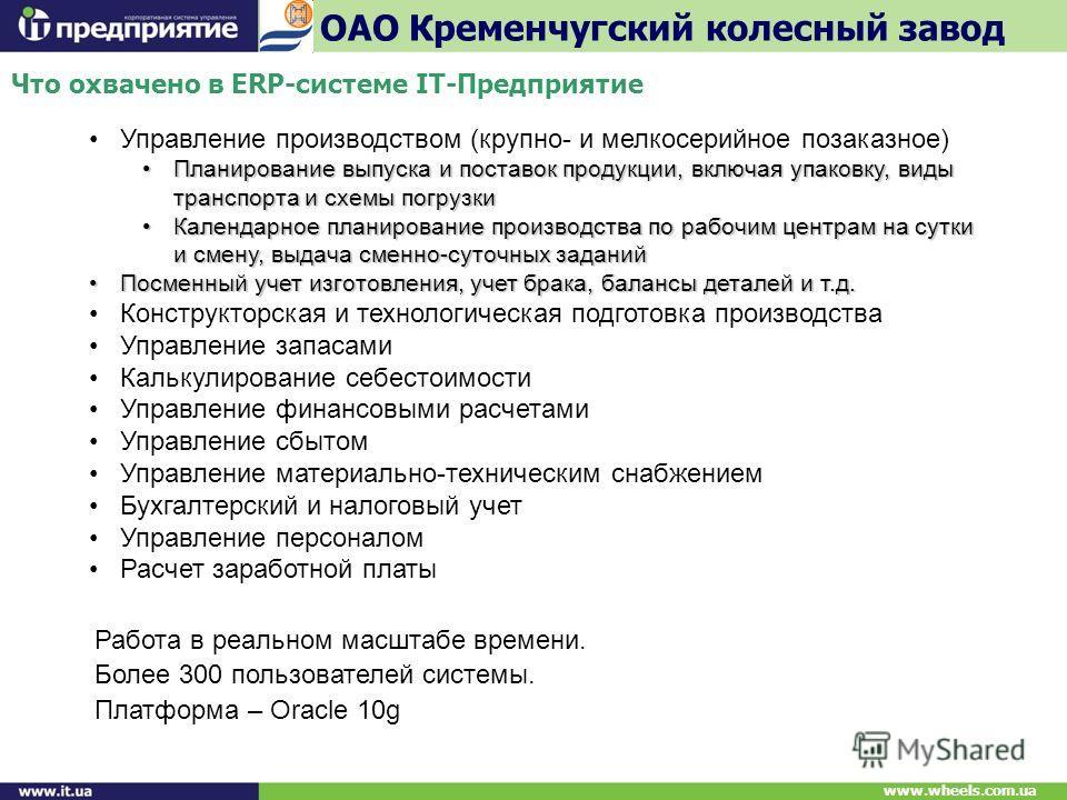 Что охвачено в ERP-системе IT-Предприятие ОАО Кременчугский колесный завод www.wheels.com.ua Управление производством (крупно- и мелкосерийное позаказное) Планирование выпуска и поставок продукции, включая упаковку, виды транспорта и схемы погрузкиПл