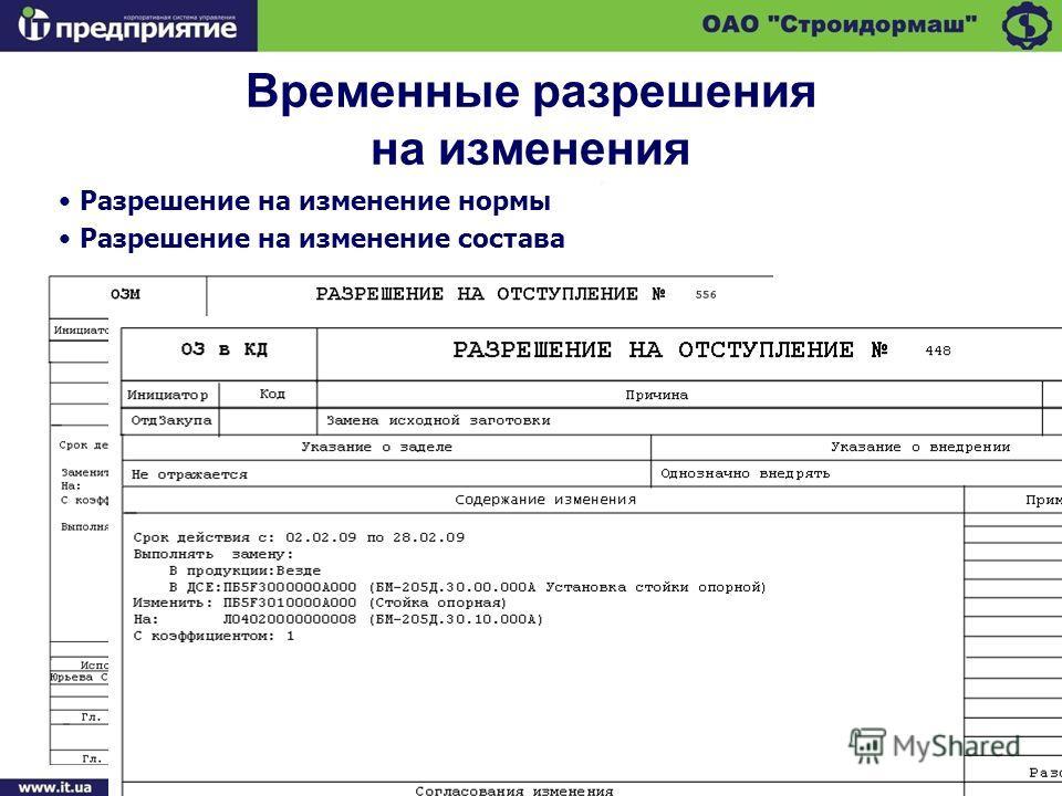 Временные разрешения на изменения Разрешение на изменение нормы Разрешение на изменение состава