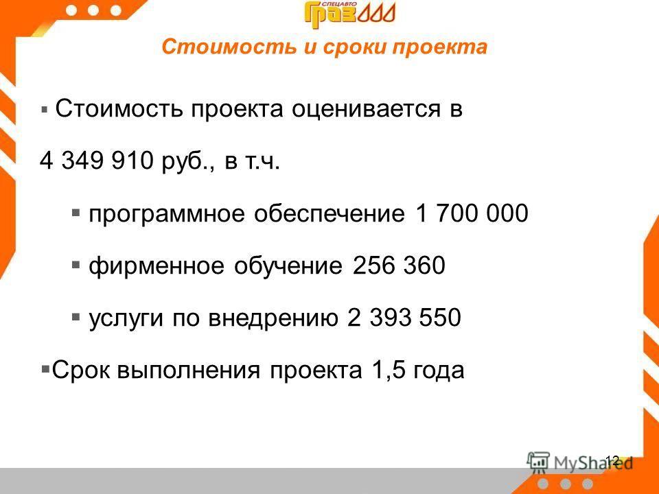 12 Стоимость проекта оценивается в 4 349 910 руб., в т.ч. программное обеспечение 1 700 000 фирменное обучение 256 360 услуги по внедрению 2 393 550 Срок выполнения проекта 1,5 года Стоимость и сроки проекта