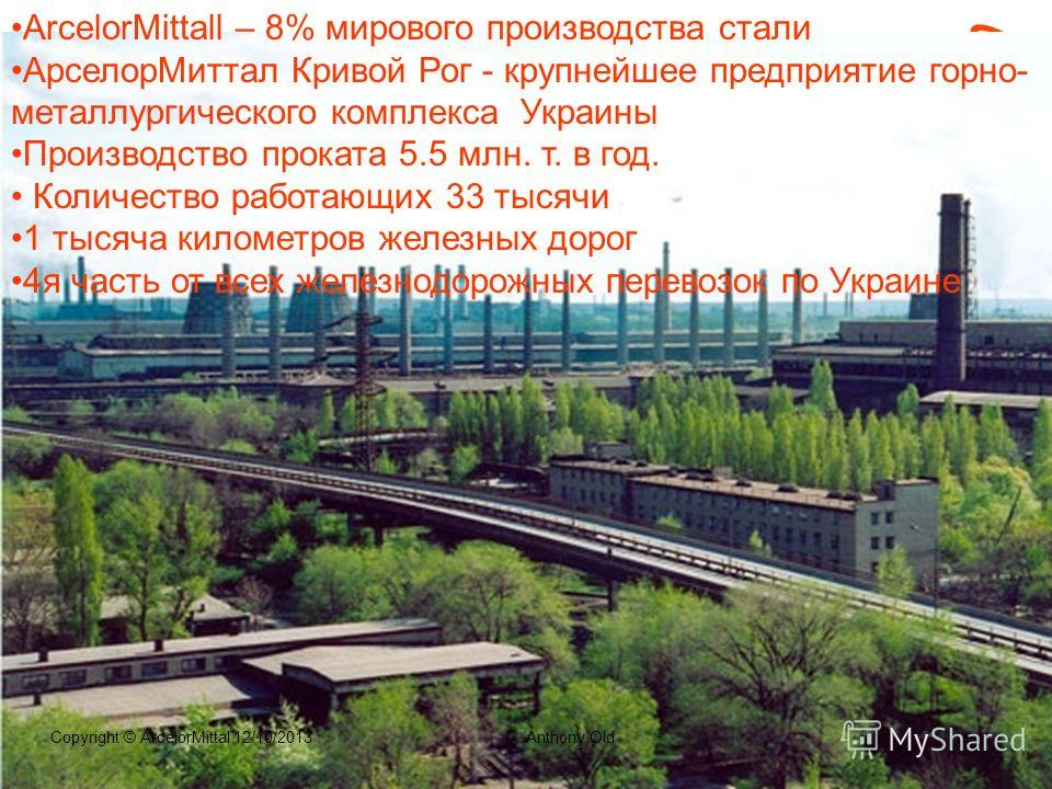 Ландшафт IT приложений на горно- металлургическом предприятии Литвиновский Михаил, CIO ArcelorMittal Кривой Рог Июнь, 2013
