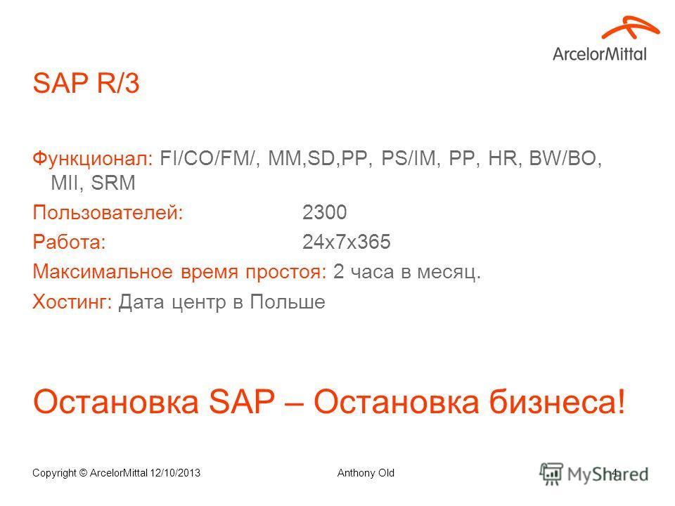 Структура Бизнеса Copyright © ArcelorMittal 12/10/20133 1. Горный 2. Шахта 3.Металлургия5.Машиностроение 6.Порт 4. Коксохим