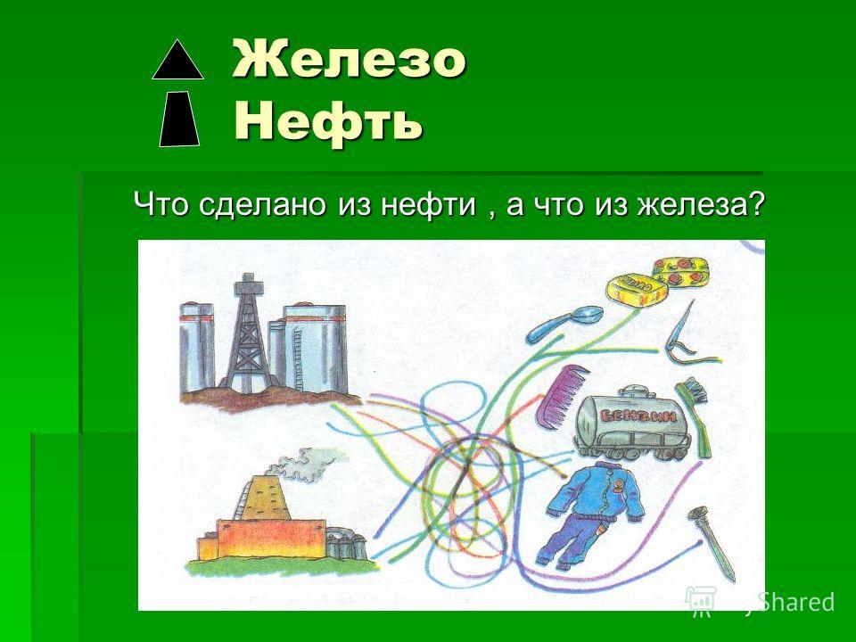 Железо Нефть Железо Нефть Что сделано из нефти, а что из железа? Что сделано из нефти, а что из железа?